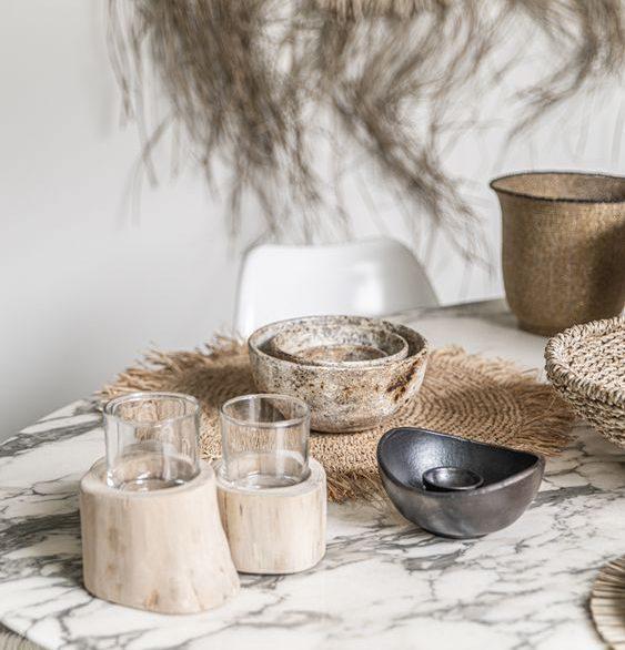 Table bohème décoration naturelle raphia