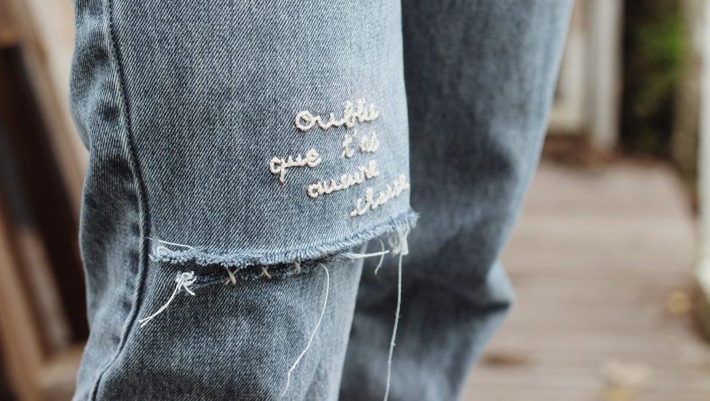 Broderie personnalisée sur jean DIY