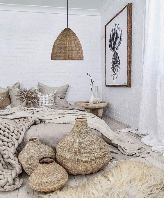 Chambre bohème décoration naturelle raphia