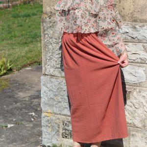 Jupe longue terracotta pour tenue de marige