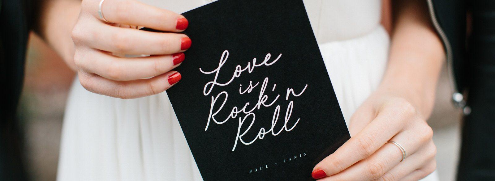 papeterie mariage carte Love rock noir